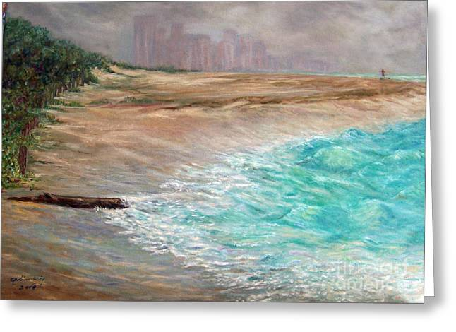 Foggy Beach Paintings Greeting Cards - Foggy Day In Miami Beach Greeting Card by Alina Martinez-beatriz