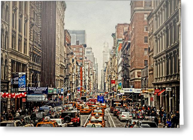 Store Fronts Greeting Cards - Foggy Day In The City Greeting Card by Kathy Jennings