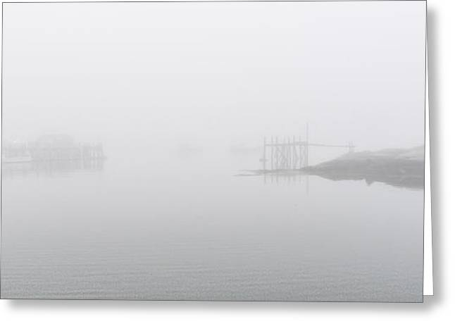 Foggy Ocean Greeting Cards - Foggy Day Lobstering Greeting Card by Marty Saccone