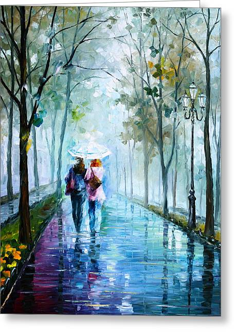 Wet Greeting Cards - Foggy day NEW Greeting Card by Leonid Afremov