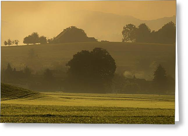 Haze Greeting Cards - Foggy Daybreak in Switzerland Greeting Card by Mountain Dreams