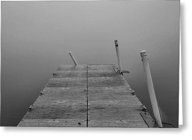 Wooden Dock Greeting Cards - Foggy Dock Greeting Card by Dan Sproul