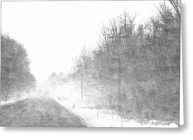 Repeat Drawings Greeting Cards - Foggy Eleven Mile Road Newaygo County Michigan Greeting Card by Rosemarie E Seppala
