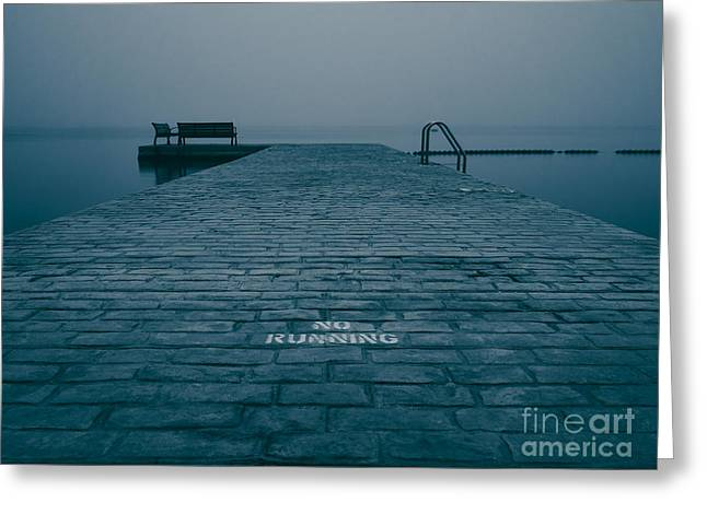 Foggy Beach Greeting Cards - Foggy Evening On The Dock Greeting Card by Mark Miller