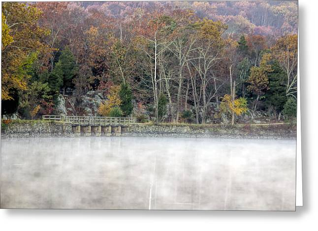 Best Sellers -  - Christmas Greeting Greeting Cards - Foggy Fall On Maryland Towpath Greeting Card by Francis Sullivan
