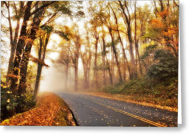 Scenic Drive Greeting Cards - Foggy Fall Wonderland - Blue Ridge Parkway I Greeting Card by Dan Carmichael