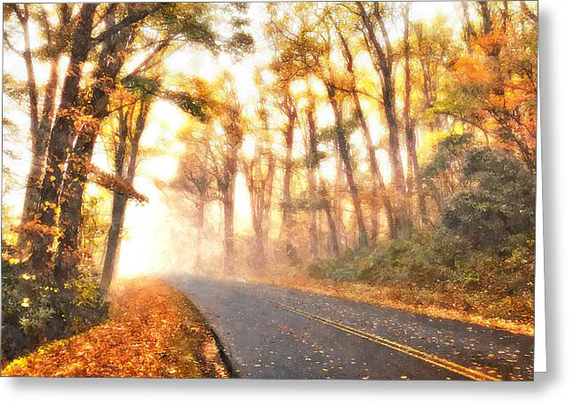 Foggy Fall Wonderland - Blue Ridge Parkway II Greeting Card by Dan Carmichael
