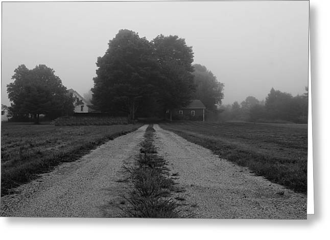 Rural Maine Roads Photographs Greeting Cards - Foggy Farmhouse Greeting Card by Alec Salisbury
