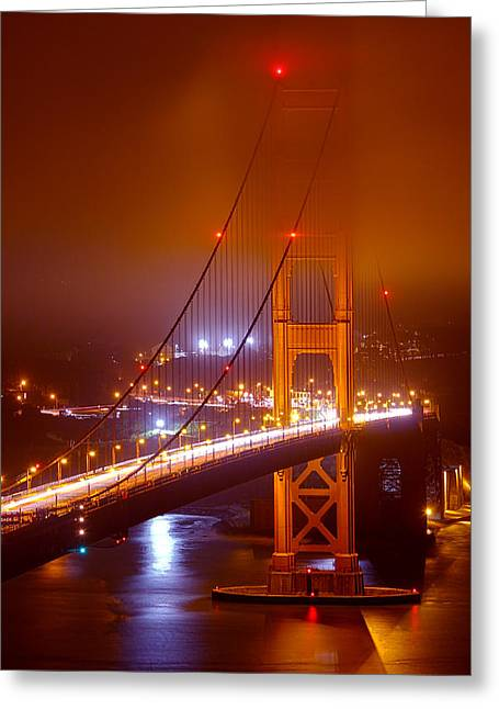 Business Greeting Cards - Foggy Golden Gate Greeting Card by Bryant Coffey
