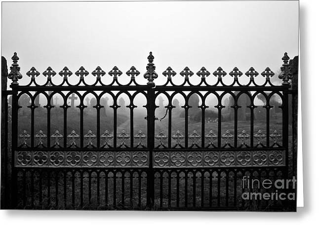 Foggy Grave Yard Gates Greeting Card by Terri Waters