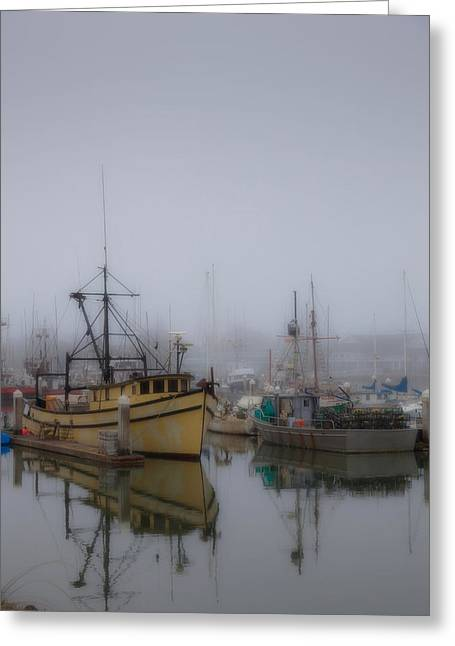 Boats In Harbor Greeting Cards - Foggy Harbor Greeting Card by Mark Alder