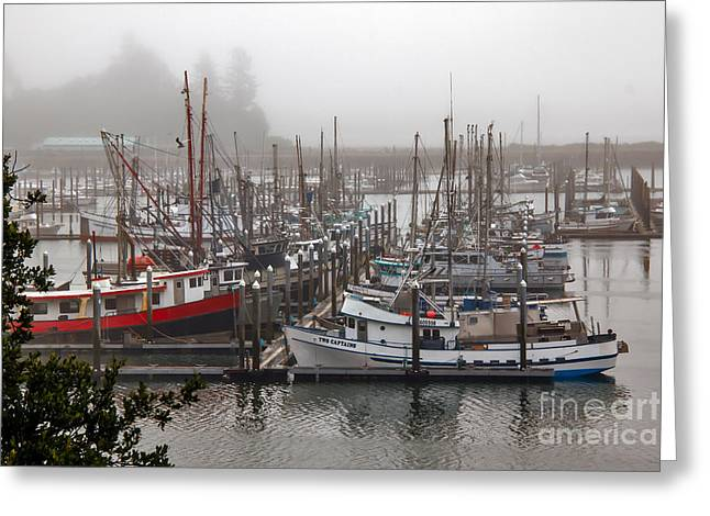 Wow Greeting Cards - Foggy Ilwaco Port Greeting Card by Robert Bales