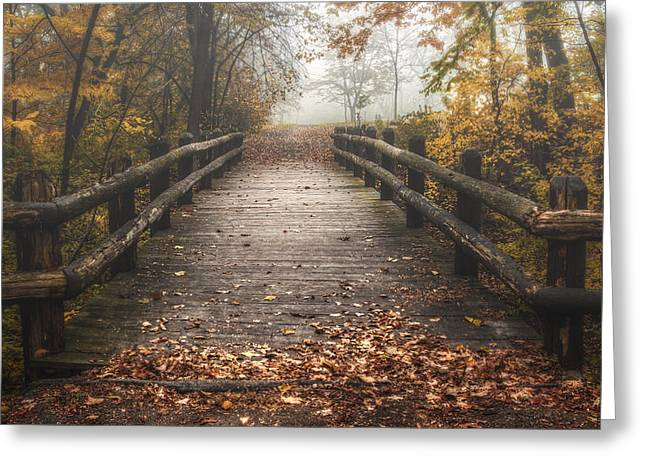 Plank Greeting Cards - Foggy Lake Park Footbridge Greeting Card by Scott Norris