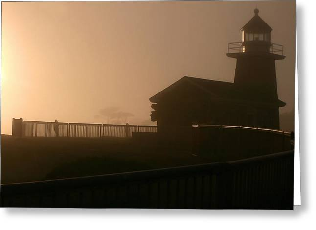 Santa Cruz Art Greeting Cards - Foggy Lighthouse Greeting Card by Art Block Collections