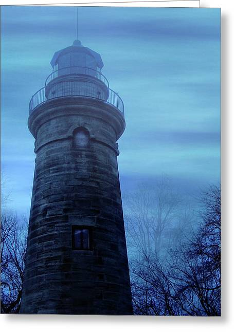 Recently Sold -  - Eerie Greeting Cards - Foggy Lighthouse Greeting Card by Mark Dottle