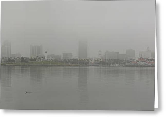 Aquarium Fish Greeting Cards - Foggy Long Beach CA Panorama 03 Greeting Card by Thomas Woolworth