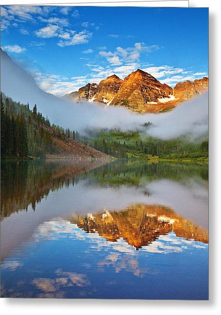 Colorado Mountain Greeting Cards Greeting Cards - Foggy Maroon Morning Greeting Card by Darren  White