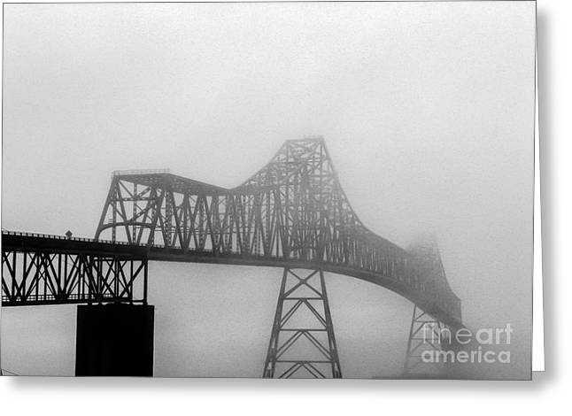 Haybales Greeting Cards - Foggy Megler Bridge Greeting Card by Robert Bales