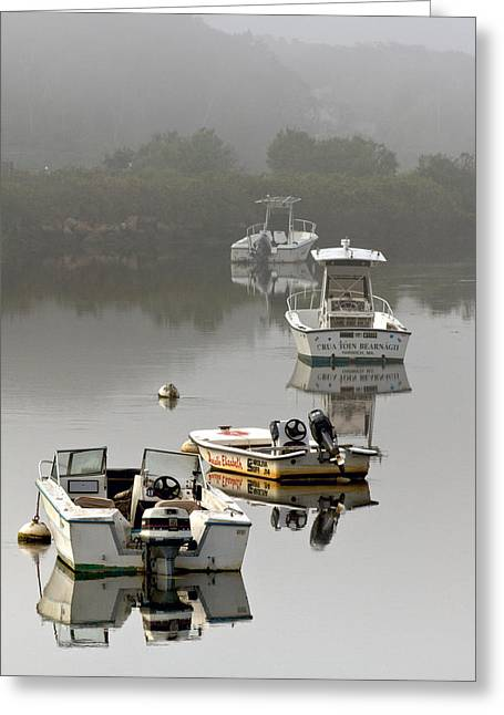 Haze Greeting Cards - Foggy Moorings Greeting Card by Carl Jacobs