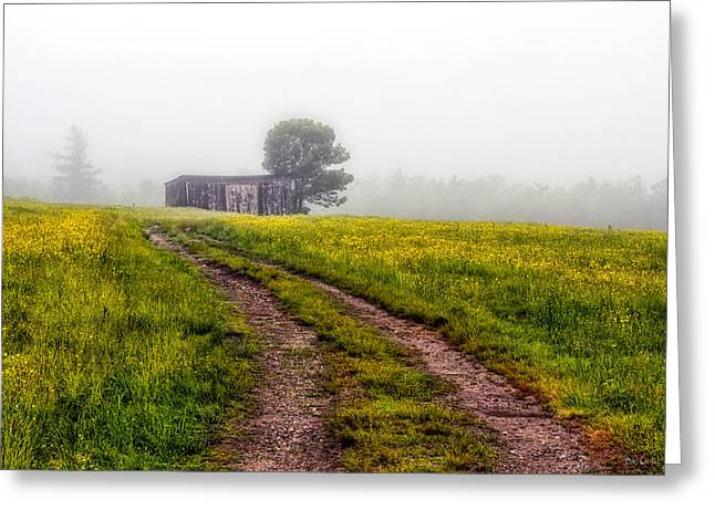 Old Maine Barns Greeting Cards - Foggy Morning Greeting Card by Bob Orsillo