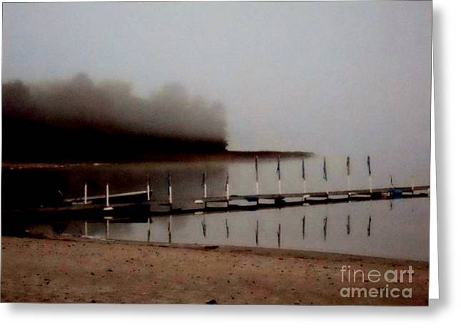 Boats At Dock Greeting Cards - Foggy Morning Greeting Card by Desiree Paquette