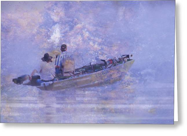 Waterscape Digital Art Greeting Cards - Foggy Morning Fishermen Greeting Card by J Larry Walker