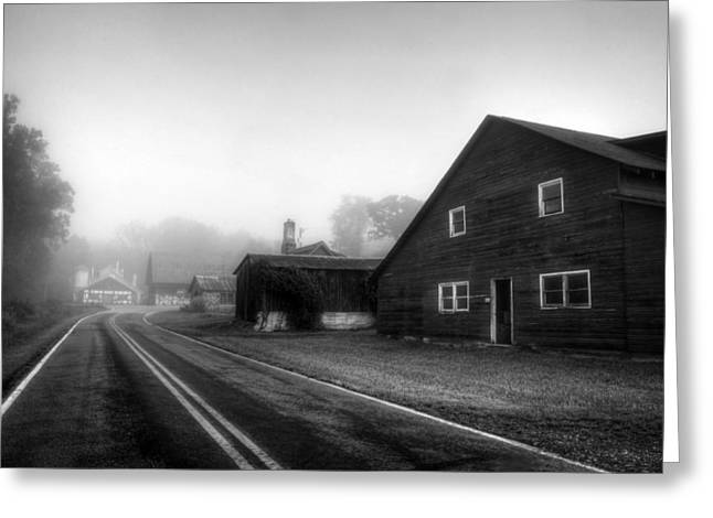 Yellow Line Greeting Cards - Foggy Morning In Brasstown NC in Black and White Greeting Card by Greg and Chrystal Mimbs