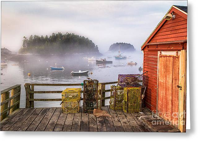 Lobster Shack Greeting Cards - Foggy Morning in Five Islands Greeting Card by Benjamin Williamson