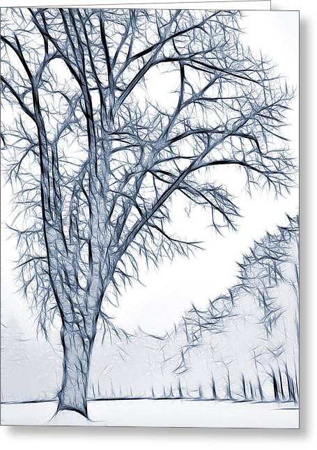 Wintry Mixed Media Greeting Cards - Foggy Morning Landscape - Fractalius 2 Greeting Card by Steve Ohlsen