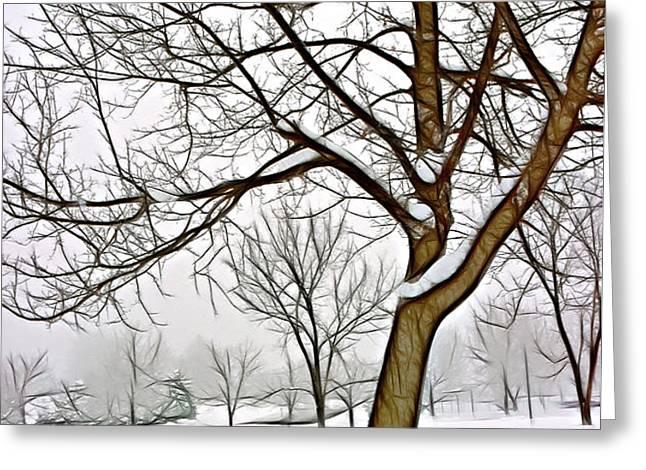 Foggy Morning Landscape - Fractalius 3 Greeting Card by Steve Ohlsen