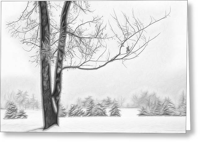 Wintry Mixed Media Greeting Cards - Foggy Morning Landscape - Fractalius 5 Greeting Card by Steve Ohlsen