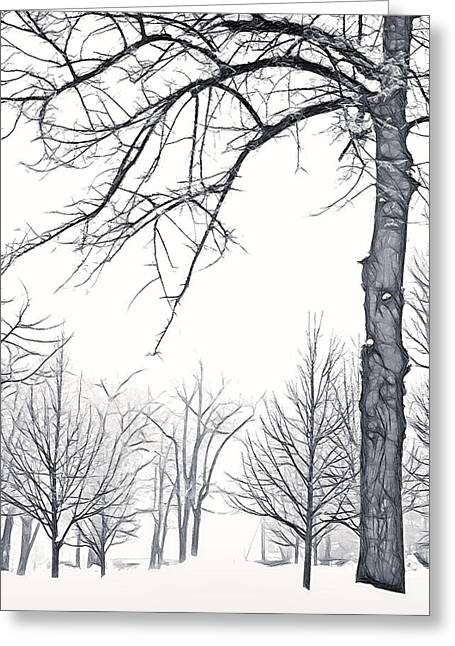 Wintry Mixed Media Greeting Cards - Foggy Morning Landscape - Fractalius 6 Greeting Card by Steve Ohlsen
