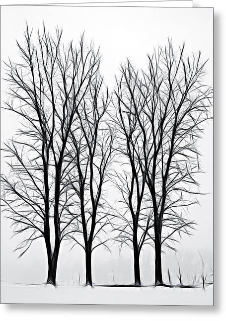 Wintry Mixed Media Greeting Cards - Foggy Morning Landscape - Fractalius  Greeting Card by Steve Ohlsen