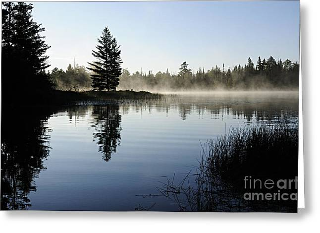 Boundary Waters Greeting Cards - Foggy Morning Greeting Card by Larry Ricker