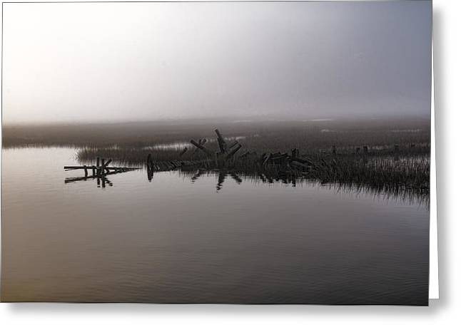 Tidal River Greeting Cards - Foggy Morning - Old Wimbee Dock Greeting Card by Scott Hansen