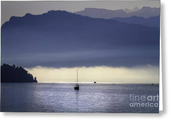 Foggy Morning on Lake Lucerne Greeting Card by George Oze