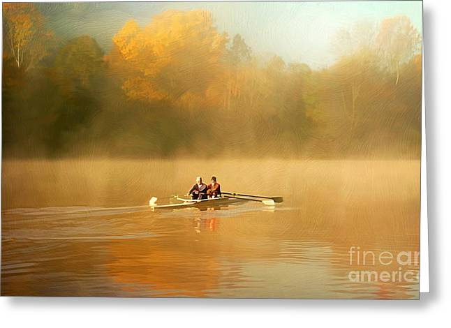 Rowing Boat Greeting Cards - Foggy Morning on the Chattahoochee Greeting Card by Darren Fisher