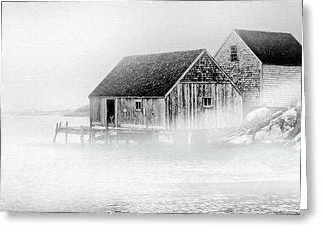 Foggy Ocean Greeting Cards - Foggy Morning Peggys Cove Greeting Card by Patricia L Davidson