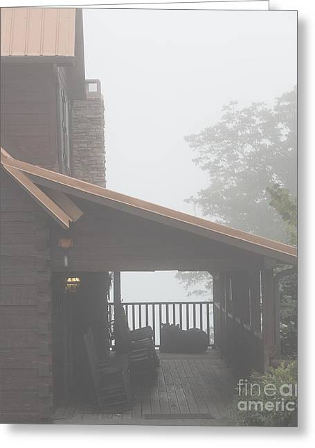 Gatlinburg Tennessee Greeting Cards - Foggy Morning Porch Greeting Card by Kay Pickens