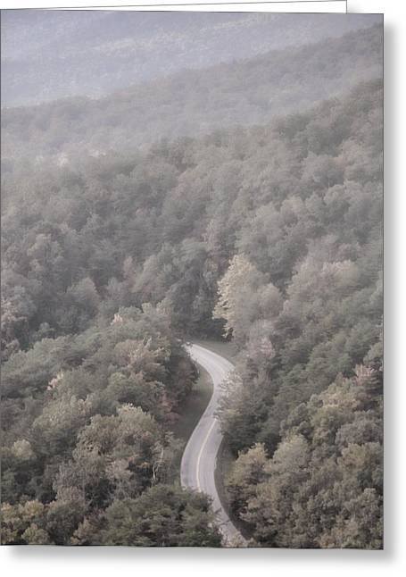 Foggy Road Greeting Cards - Foggy Morning Road Greeting Card by Dan Sproul