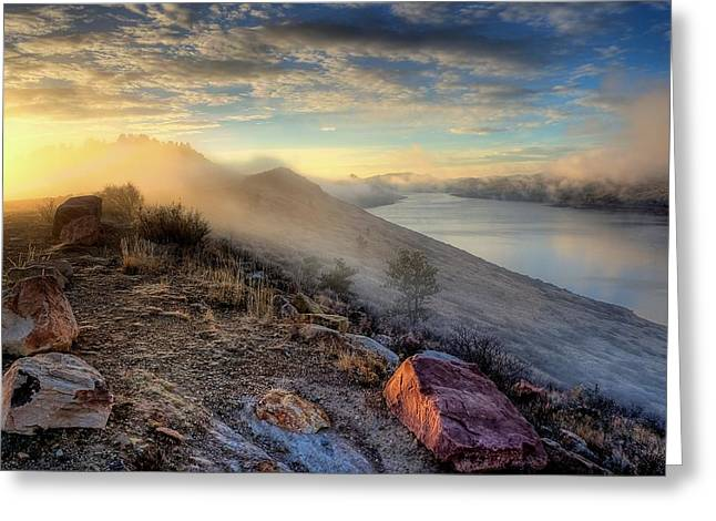 Horsetooth Reservoir Greeting Cards - Foggy morning sunrise Greeting Card by Steve Barge