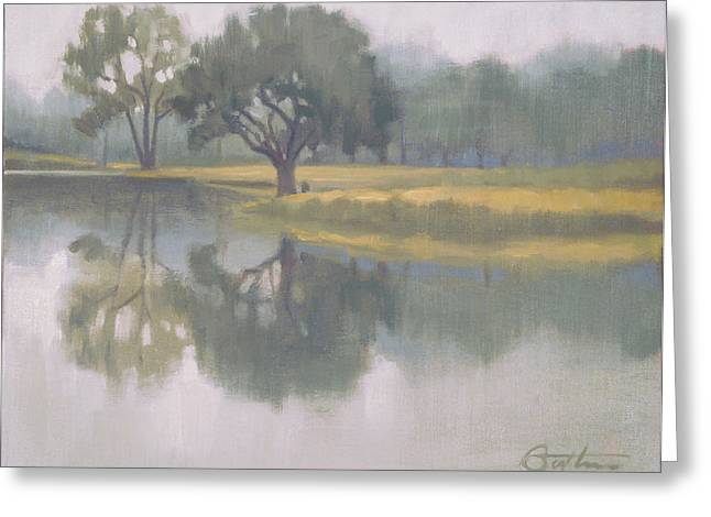 Fog Mist Paintings Greeting Cards - Foggy Morning Greeting Card by Todd Baxter