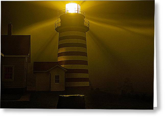 West Quoddy Head Lighthouse Greeting Cards - Foggy Night at West Quoddy Head Light-2 Greeting Card by Marty Saccone
