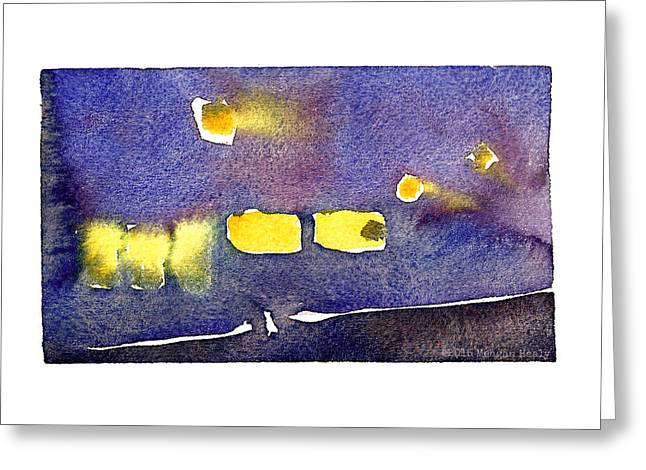 Md Paintings Greeting Cards - Foggy Night Colors Greeting Card by Meagan Healy