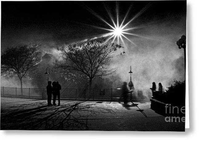 Streetlight Greeting Cards - Foggy Night Greeting Card by Mark Miller