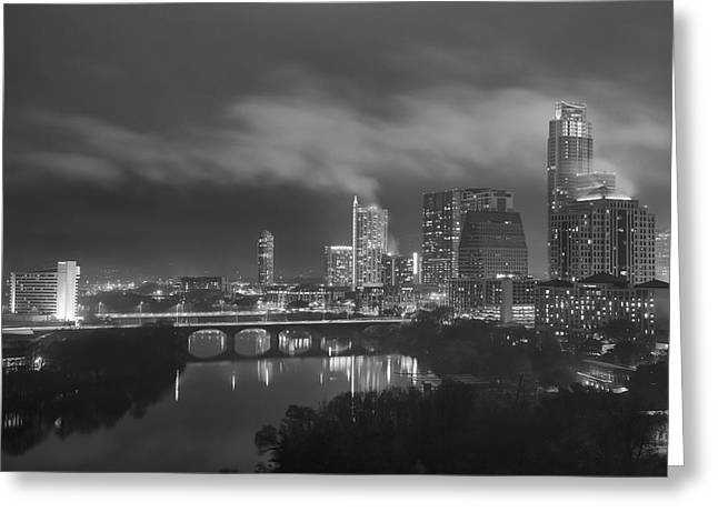 Austin Architecture Greeting Cards - Foggy Night over the Austin Skyline Austin Texas black and white Greeting Card by Rob Greebon