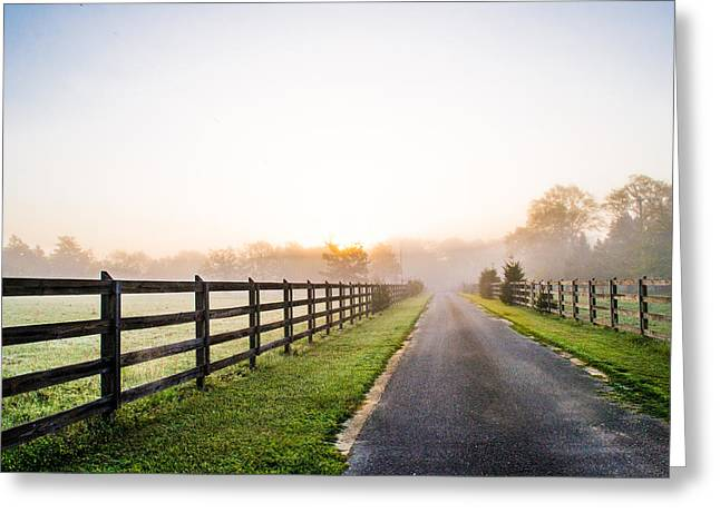 Foggy Day Greeting Cards - Foggy Path at Sunrise Greeting Card by Shelby  Young
