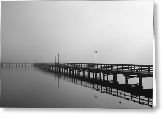 Foggy Pier Greeting Card by Kimberly Oegerle