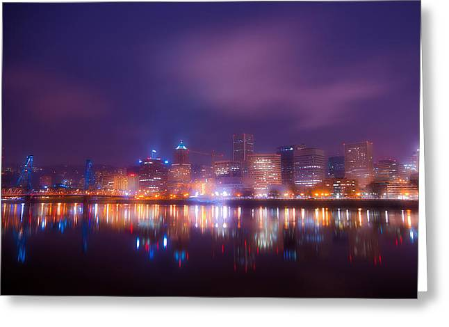 Exposure Framed Prints Greeting Cards - Foggy Portland Nights Greeting Card by Darren  White