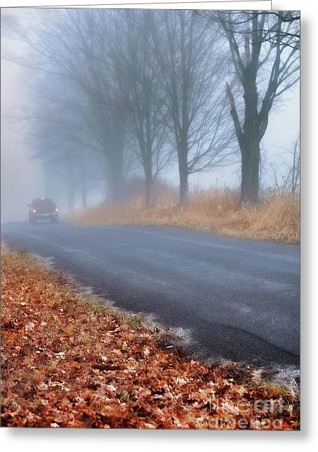 Driving Greeting Cards - Foggy Road Greeting Card by HD Connelly